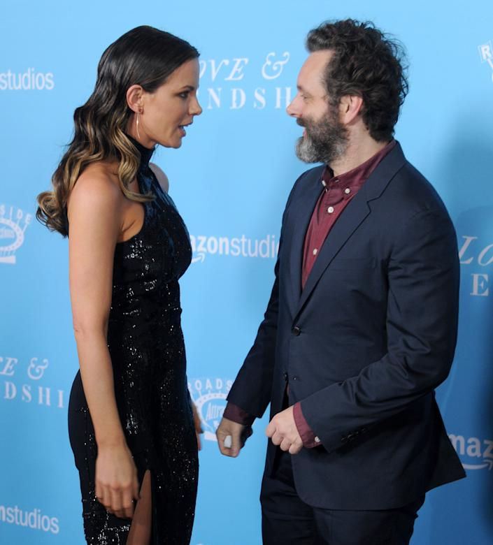 "LOS ANGELES, CA - MAY 03: Actors Michael Sheen and Kate Beckinsale arrive at the premiere of Roadside Attractions' ""Love And Friendship"" at Directors Guild Of America on May 3, 2016 in Los Angeles, California.  (Photo by Gregg DeGuire/WireImage)"