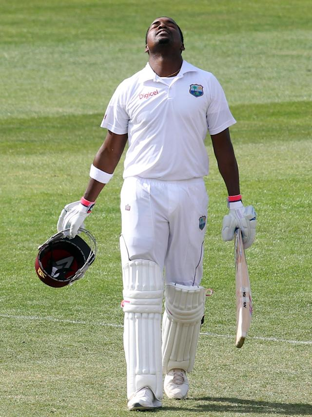 DUNEDIN, NEW ZEALAND - DECEMBER 06: Darren Bravo of the West Indies looks skyward after scoring 200 runs during day four of the first test match between New Zealand and the West Indies at University Oval on December 6, 2013 in Dunedin, New Zealand. (Photo by Rob Jefferies/Getty Images)