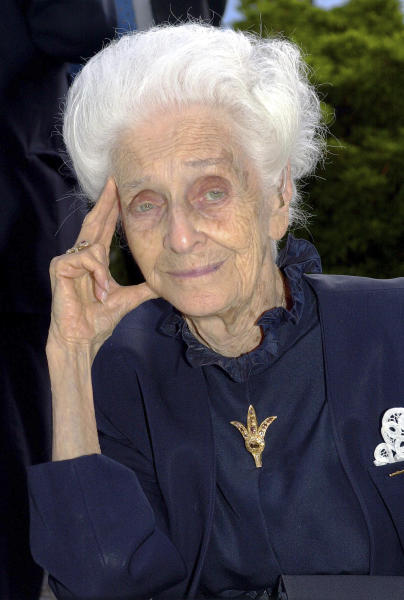 FILE -- Undated file photo of Italian neurologist and senator for life Rita Levi Montalcini, Nobel Prize winner for Medicine in 1986. Rome's mayor says biologist Rita Levi-Montalcini, who conducted underground research in defiance of Fascist persecution, and went on to win a Nobel Prize for helping unlock the mysteries of the cell, has died at her home in the city. She was 103. (AP Photo/Luca Bruno)
