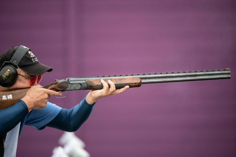 Kiyoshi Takanashi of Japan competes in the trap women and men final during a test event for the Tokyo 2020 Olympics last week