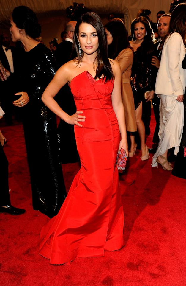 "Lea Michele was red hot as she arrived at the 2011 Met Ball held at the Metropolitan Museum of Art on May 2, 2011 in New York City.    ""Glee's"" leading lady wore a custom-made Escada red silk faille gown."