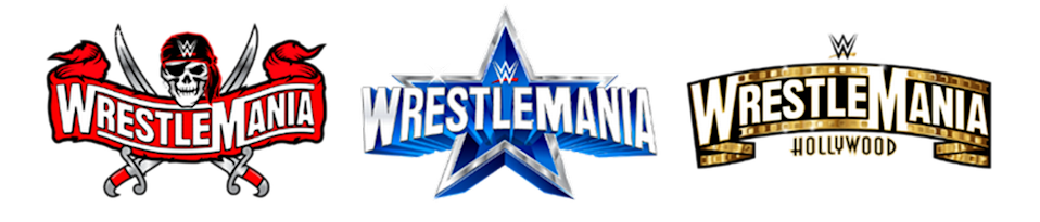 WrestleMania 37 in 2021 in Tampa; WrestleMania 38 in 2022 in Arlington/Dallas; WrestleMania 39 in 2023 in Hollywood/Los Angeles.