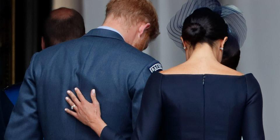 <p>It's not always the bold gestures that show the most affection. After watching the flypast to mark the centenary of the Royal Air Force from the balcony of Buckingham Palace in July, Meghan Markle gently touched her husband's back as she guided him back into the Palace. That's love.</p>