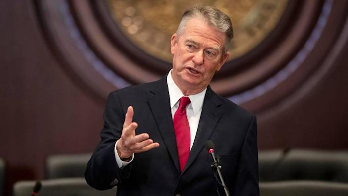 In this Sept. 3, 2020, file photo, Idaho Gov. Brad Little speaks at a news conference at the Statehouse in Boise.