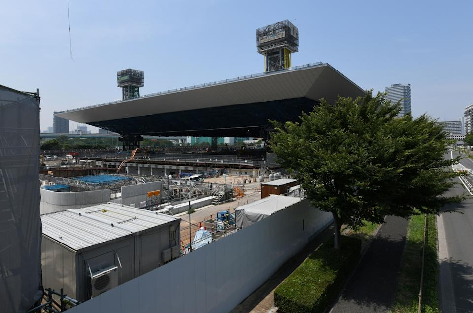 This picture shows a construction site for the Tokyo 2020 venue