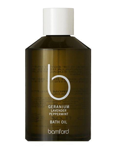 <p>Real talk: Finding time to take a bath is a splurge in itself. Make the most of it by indulging in a mood-boosting essential oil blend. Bamford's soak includes geranium, sweet almond, apricot, lavendar, and peppermint. </p>