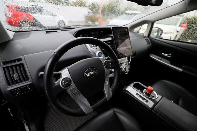 FILE PHOTO: A view shows self-driving cars tested by Yandex company in Moscow