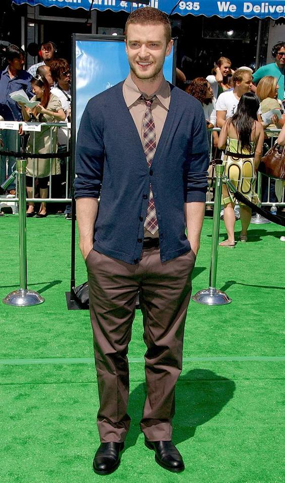 "Justin Timberlake strikes a pose on the ""Shrek"" green carpet. Gregg DeGuire/<a href=""http://www.wireimage.com"" target=""new"">WireImage.com</a> - May 6, 2007"