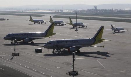 Aircrafts of Germanwings airline remain on the tarmac of the western German airport of Stuttgart