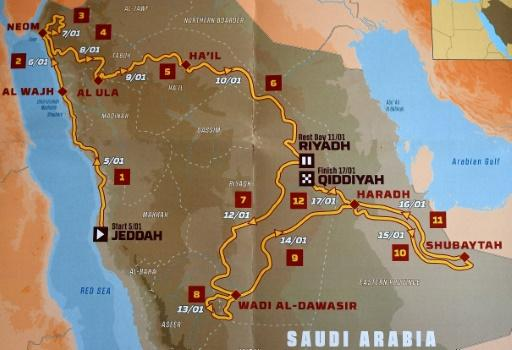 The itinerary for the 2020 Dakar Rally