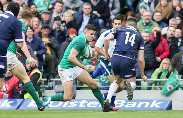 Ireland wing Jacob Stockdale scored seven tries to lead Ireland to the Six Nations crown (AFP Photo/Paul FAITH)
