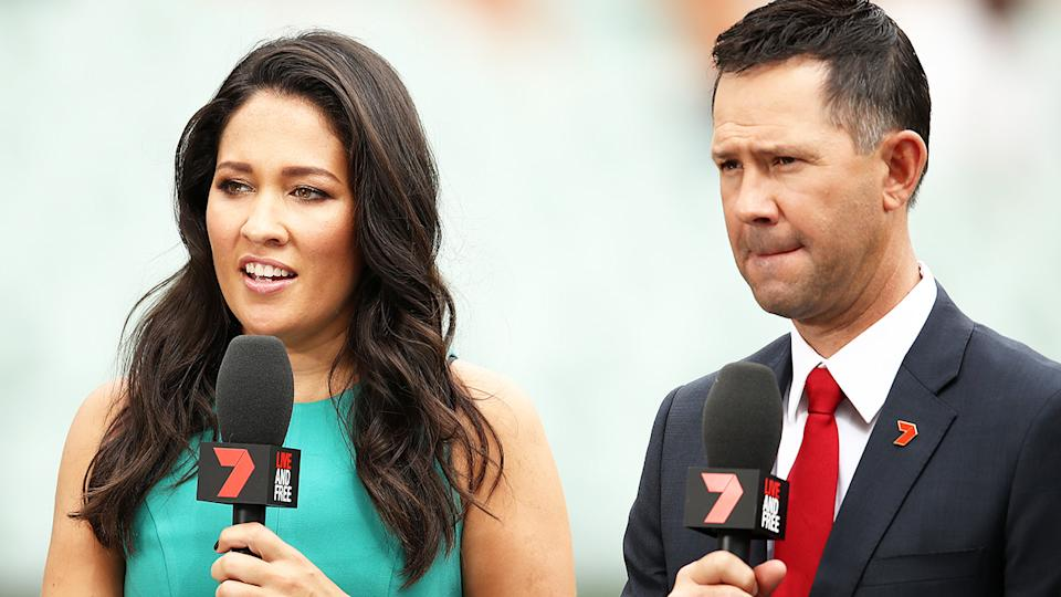 Mel McLaughlin and Ricky Ponting, pictured here during the first Test between Australia and India in 2018.