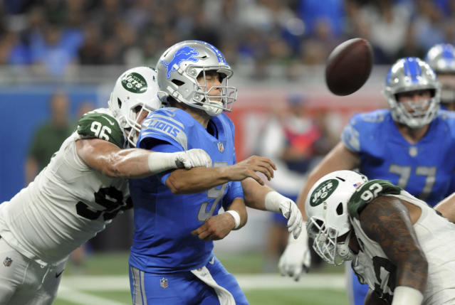New York Jets defensive end Henry Anderson (96) hits Detroit Lions quarterback Matthew Stafford's (9) in the Jets' Week 1 blowout win. (AP)
