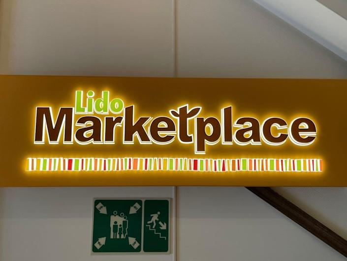 The entrance sign to the Lido Marketplace.