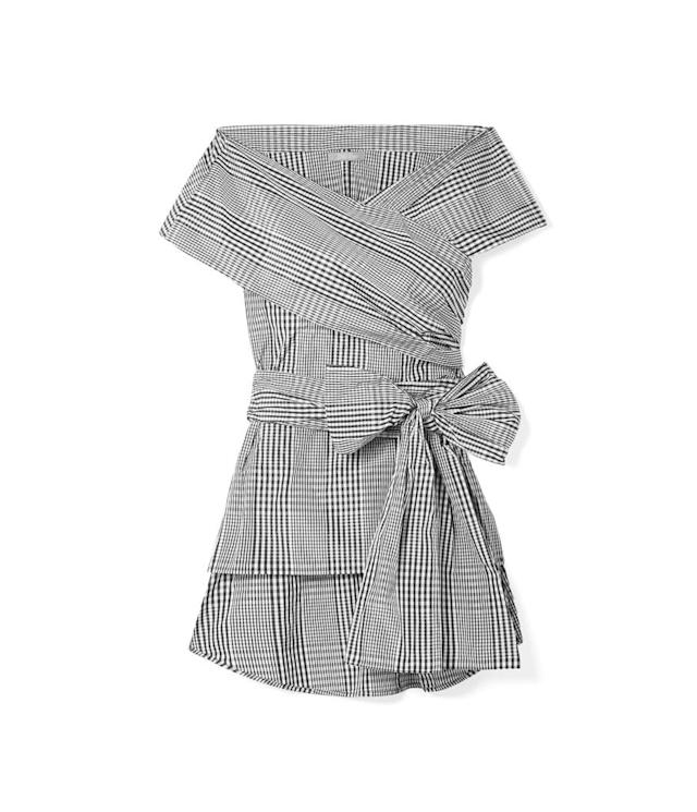"<p>Off-the-shoulder checked poplin wrap blouse, $895, <a href=""https://www.net-a-porter.com/us/en/product/1060402/lela_rose/off-the-shoulder-checked-poplin-wrap-blouse"" rel=""nofollow noopener"" target=""_blank"" data-ylk=""slk:net-a-porter.com"" class=""link rapid-noclick-resp"">net-a-porter.com</a> </p>"