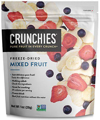 """<p><strong>Crunchies</strong></p><p>amazon.com</p><p><strong>$29.99</strong></p><p><a href=""""https://www.amazon.com/dp/B0791LW2S8?tag=syn-yahoo-20&ascsubtag=%5Bartid%7C2139.g.36606084%5Bsrc%7Cyahoo-us"""" rel=""""nofollow noopener"""" target=""""_blank"""" data-ylk=""""slk:Shop Now"""" class=""""link rapid-noclick-resp"""">Shop Now</a></p><p>Even if you aren't planning an extended stay in outer space, you'll appreciate the over-the-top fruity flavor of this freeze-dried fruit mix. The antioxidants in the crunchy fruit may help improve muscle recovery from your hard runs. Just be sure to cap your intake at close to the recommended portion to avoid a sugar rush right before bed, which is one third cup and 35 calories.</p>"""