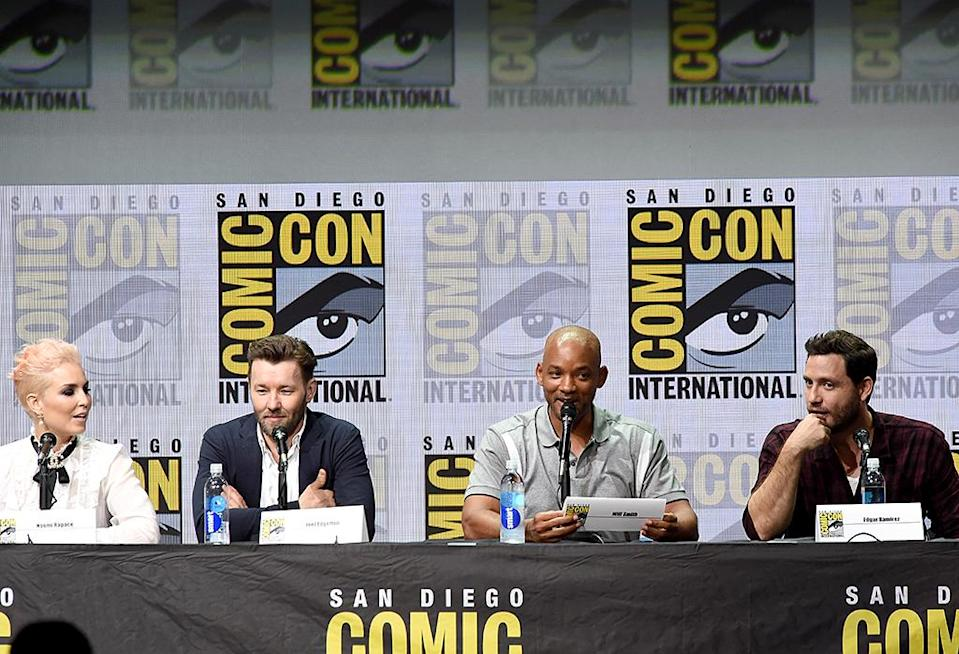 <p>Noomi Rapace, Joel Edgerton, Will Smith, and Edgar Ramirez at Netflix Films Comic-Con panel on July 20, 2017, in San Diego. (Photo: Kevin Winter/Getty Images) </p>