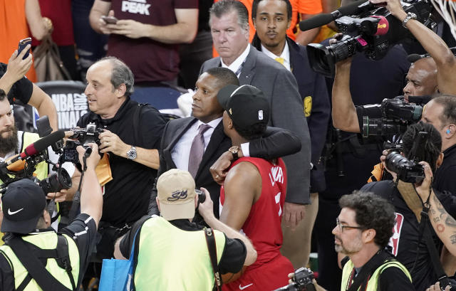 Toronto Raptors president Masai Ujiri was reportedly involved in an incident following Game 6 of the NBA Finals. (AP Foto/Tony Avelar)