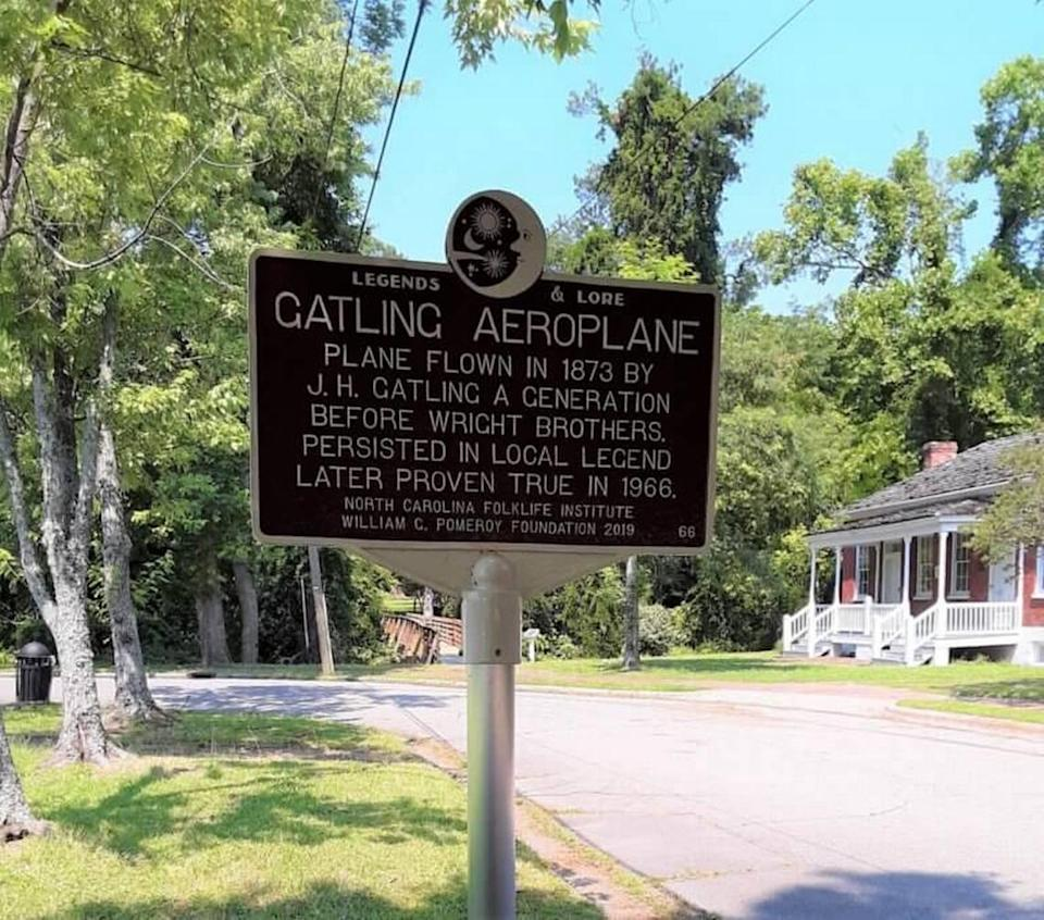 """A marker in the Pomeroy Foundation's """"Legends & Lore"""" program notes that Henry Gatling built and launched an """"aeroplane"""" in Hertford County decades before the Wright Brothers' successful flight on the Outer Banks."""