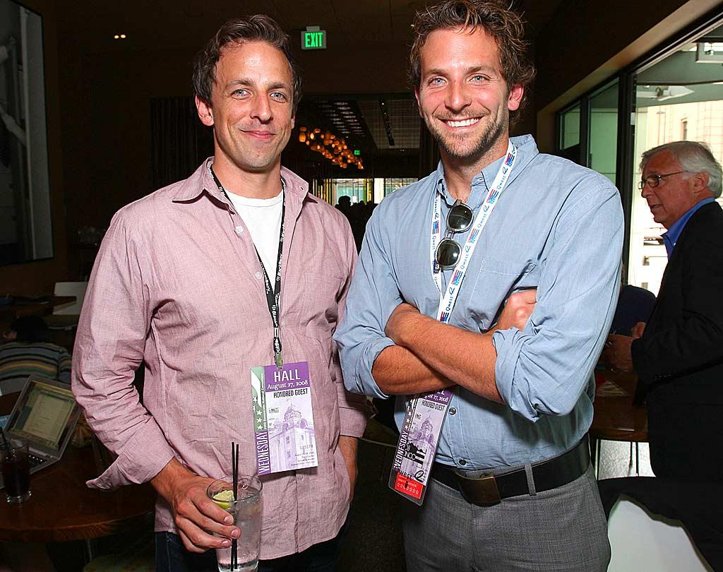 "Is Seth Meyers getting more material for ""Saturday Night Live?"" And doesn't Bradley Cooper look more like a campaign manager than a movie star? John Shearer/<a href=""http://www.wireimage.com"" target=""new"">WireImage.com</a> - August 27, 2008"