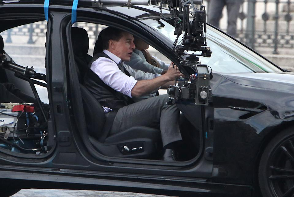 Tom Cruise and actress Hayley Atwell, during the filming of the movie Mission Impossible 7 in Rome in a car