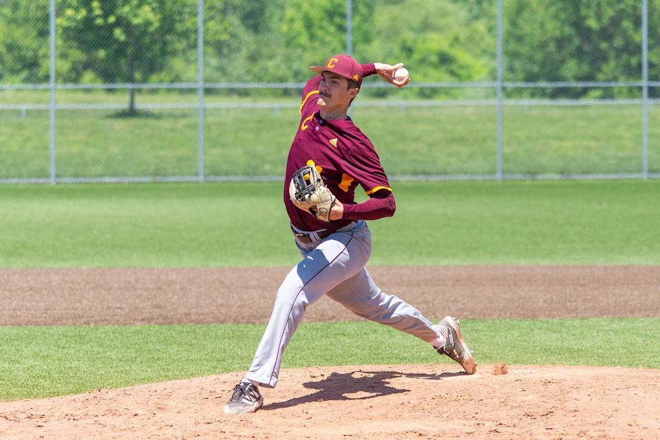 Central Michigan pitcher Andrew Taylor throws a pitch during the 2021 season. He finished second in the nation with a 1.21 ERA for the season.