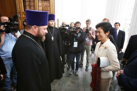 Japan's Princess Takamado visits Orthodox Cathedral in Saransk, Russia June 20, 2018. REUTERS/Artem Artamonov
