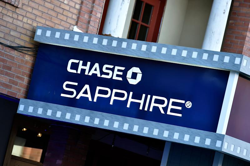 PARK CITY, UTAH - JANUARY 24: A Chase Sapphire sign hangs along Main Street during the 2019 Sundance Film Festival on January 24, 2019 in Park City, Utah. (Photo by David Becker/Getty Images)