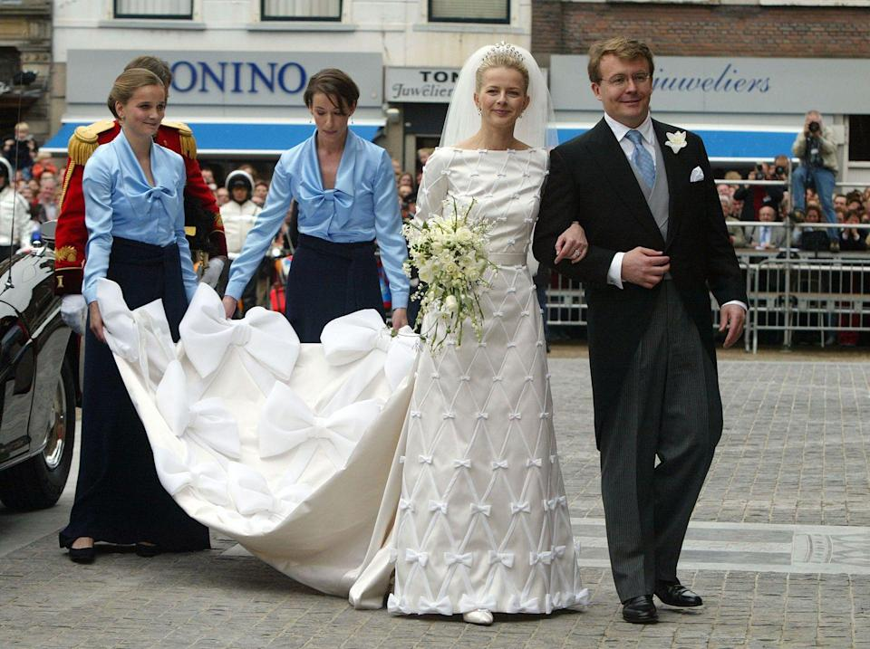 "<p>The now late Prince Friso of Orange-Nassau gave up his right to the Dutch throne in 2004. His marriage to Mabel Wisse Smit (who would become Princess Mabel of Orange-Nassau) was met with disapproval due to his bride's connections to ""Klaas Bruinsma, a gangster and drug baron who had been executed, gangland style, in 1991,"" per <em><a href=""https://www.nytimes.com/2003/10/12/world/revelations-about-dutch-prince-s-fiancee-rattle-royal-family.html"" rel=""nofollow noopener"" target=""_blank"" data-ylk=""slk:The New York Times"" class=""link rapid-noclick-resp"">The New York Times</a></em>. The couple remained married until Prince Friso's death in August 2013.</p>"