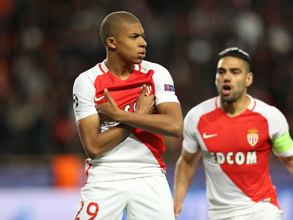 Mbappe celebrates after scoring in Monaco's recent Champions League victory against Borussia Dortmund: G