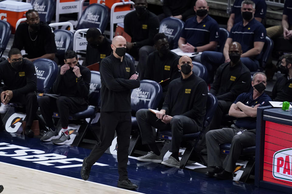 Indiana Pacers coach Nate Bjorkgren watches during the second half of the team's NBA basketball game against the Sacramento Kings, Wednesday, May 5, 2021, in Indianapolis. (AP Photo/Darron Cummings)