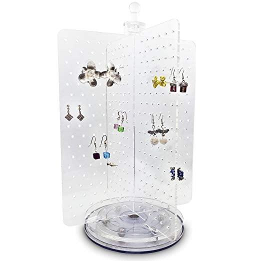 """<p>The rotating design of the <a href=""""https://www.popsugar.com/buy/Ikee-Design-Jewelry-Stand-Tower-410864?p_name=Ikee%20Design%20Jewelry%20Stand%20Tower&retailer=amazon.com&pid=410864&price=22&evar1=casa%3Aus&evar9=45752594&evar98=https%3A%2F%2Fwww.popsugar.com%2Fhome%2Fphoto-gallery%2F45752594%2Fimage%2F45753852%2FEarring-Lovers&list1=amazon%2Caccessories%2Corganization%2Cstorage%20tips%2Chome%20organization&prop13=mobile&pdata=1"""" rel=""""nofollow"""" data-shoppable-link=""""1"""" target=""""_blank"""" class=""""ga-track"""" data-ga-category=""""Related"""" data-ga-label=""""https://www.amazon.com/gp/product/B071CNDBPW/ref=ppx_yo_dt_b_asin_title_o05__o00_s01?ie=UTF8&amp;th=1"""" data-ga-action=""""In-Line Links"""">Ikee Design Jewelry Stand Tower</a> ($22) makes it a total space-saver - but it can still hold up to 216 pairs of earrings! The four panels make it easy to organize your collection by color, length, or style. </p>"""