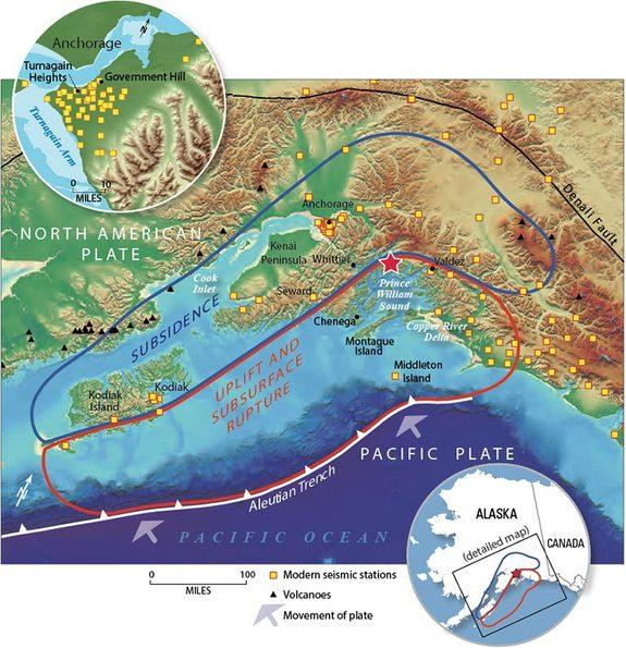 Map of Alaska showing the areas of uplift and subsidence following the 1964 earthquake.