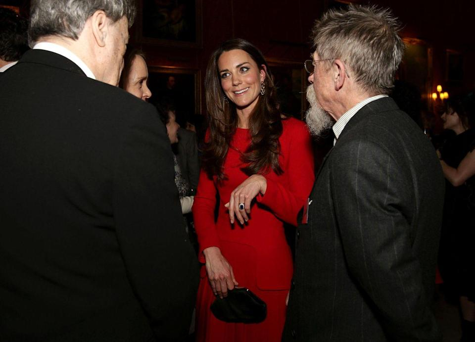 <p>It re-emerged two years later for a reception for the dramatic arts at Buckingham Palace. No hat this time, but great expression!</p>