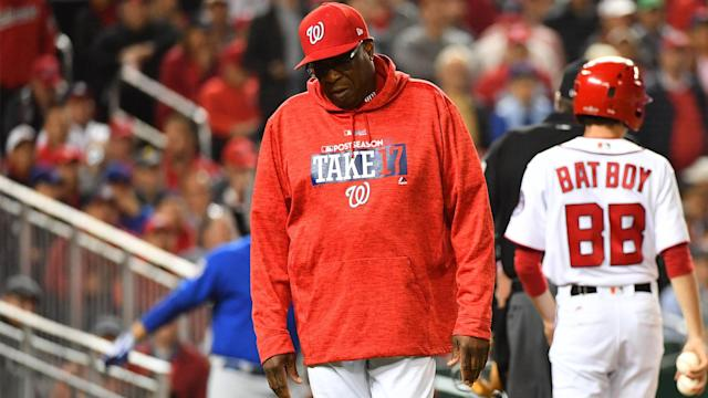 "<a class=""link rapid-noclick-resp"" href=""/ncaab/players/131934/"" data-ylk=""slk:Dusty Baker"">Dusty Baker</a> won't return as Nats manager in 2018. (AP)"