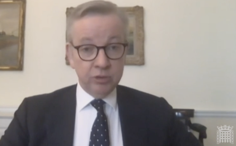 Michael Gove told the future relationship with the European Union committee that there will be no extension to the transition period. (Parliamentlive.tv)