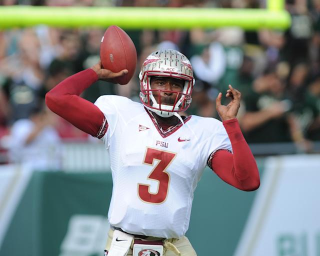 TAMPA, FL - SEPTEMBER 29: Quarterback E. J. Manuel #3 of the Florida State Seminoles warms up for play against the South Florida Bulls September 29, 2012 at Raymond James Stadium in Tampa, Florida. ( Photo by Al Messerschmidt/Getty Images)