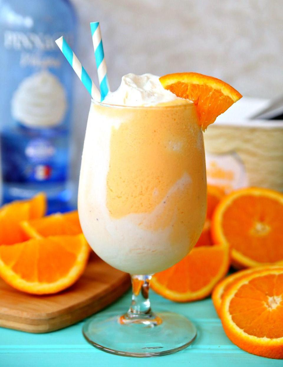 """<p>Wind down for the day with a creamy orange cocktail that doubles as a perfectly suitable replacement for dessert. </p><p>Get the recipe at <a href=""""https://www.happygoluckyblog.com/boozy-orange-creamsicle-float/"""" rel=""""nofollow noopener"""" target=""""_blank"""" data-ylk=""""slk:Happy Go Lucky Blog"""" class=""""link rapid-noclick-resp"""">Happy Go Lucky Blog</a>.</p>"""