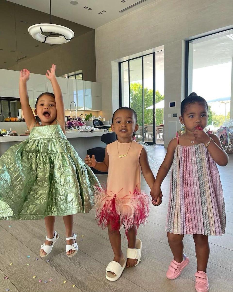 Kim Kardashian Shares Silly Photos of Her Daughter Chicago with Nieces  Stormi and True: The 'Triplets'