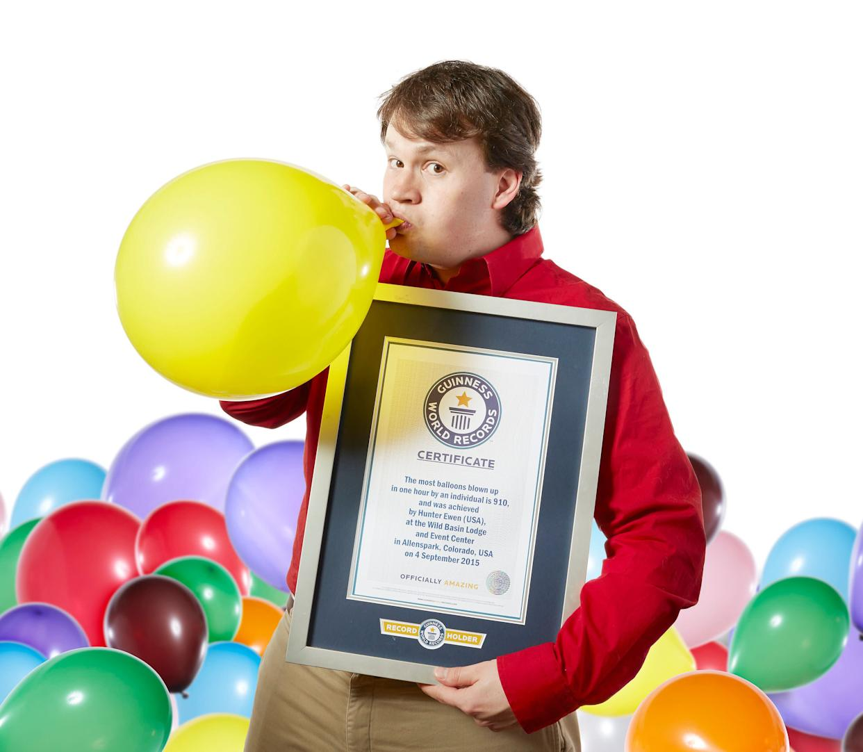 Hunter Ewen holds the record for most balloons blown up in an hour: 910.