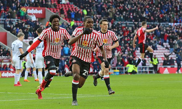 Joel Asoro celebrates scoring Sunderland's opening goal of a thrilling draw against Middlesbrough.
