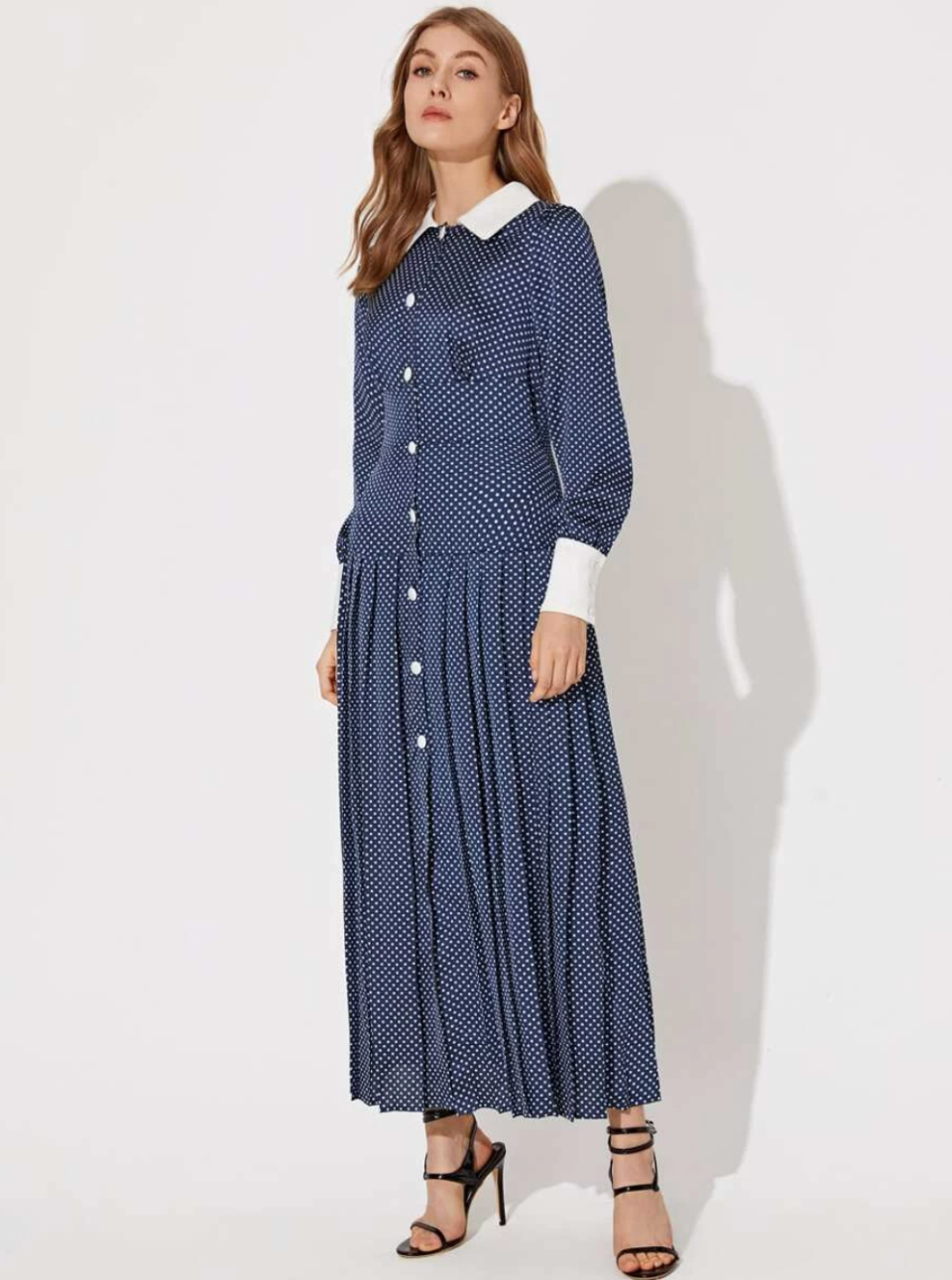 Single Breasted Contrast Collar Polka Dot Pleated Dress. Image via SHEIN.