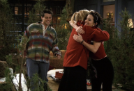 "<p>Yearning to pursue her fashion career, Rachel quits her job at Central Perk (but soon regrets her decision). Meanwhile, Ross accidentally breaks the leg of a little girl named Sarah Tuttle (<strong>Mae Whitman</strong>) and helps her sell boxes of Christmas cookies to make up for the accident. Things also get crazy when Phoebe visits Joey at work and discovers what happens to Christmas trees after they ""serve their Christmas destiny.""</p><p><a class=""link rapid-noclick-resp"" href=""https://www.amazon.com/gp/video/detail/B000KZFN66/?tag=syn-yahoo-20&ascsubtag=%5Bartid%7C10063.g.35029576%5Bsrc%7Cyahoo-us"" rel=""nofollow noopener"" target=""_blank"" data-ylk=""slk:WATCH ON AMAZON"">WATCH ON AMAZON</a></p><p><strong>RELATED:</strong> <a href=""https://www.goodhousekeeping.com/holidays/gift-ideas/g34826491/friends-tv-show-gifts/"" rel=""nofollow noopener"" target=""_blank"" data-ylk=""slk:Shop Friends-Themed Gifts for Mega Fans of the Sitcom"" class=""link rapid-noclick-resp"">Shop <em>Friends</em>-Themed Gifts for Mega Fans of the Sitcom</a></p>"