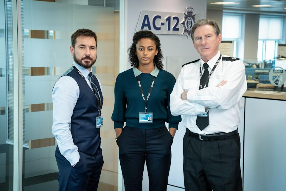 WARNING: Embargoed for publication until 00:00:01 on 23/03/2021 - Programme Name: Line of Duty S6 - TX: n/a - Episode: Line Of Duty - Generics (No. n/a) - Picture Shows:  DS Steve Arnott (MARTIN COMPSTON), DC Chloe Bishop (SHALOM BRUNE-FRANKLIN), Superintendent Ted Hastings (ADRIAN DUNBAR) - (C) World Productions - Photographer: Steffan Hill