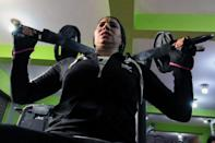 Sabah Saqr, an Egyptian boxing coach challenges social boundaries by training men, exercices at the gym, in Bani Swief