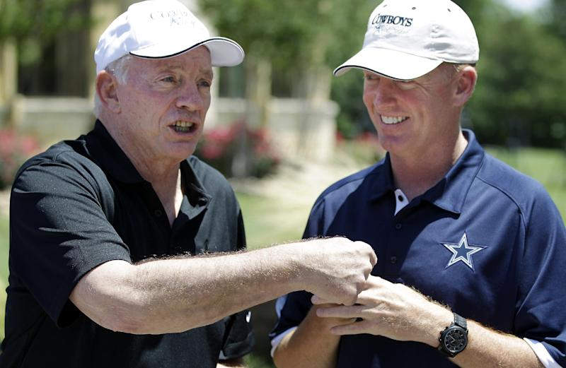 Dallas Cowboys NFL football owner Jerry Jones, left, and head coach Jason Garrett arrive for the Dallas Cowboys Annual Sponsor Appreciation Golf Classic at the Cowboys Golf Club, Wednesday, May 9, 2012, in Grapevine, Texas. (AP Photo/LM Otero)