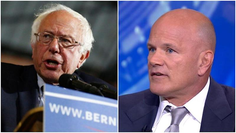 Bitcoin bull Mike Novogratz channeled his inner Bernie Sanders when he called for a radical redistribution of American wealth. | Source: JONATHAN ALCORN / AFP (i). Bloomberg/YouTube (ii). Image Edited by CCN.