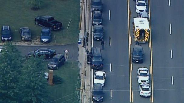 PHOTO: The scene where a Baltimore County Police officer was shot and killed, May 21, 2018. (WMAR)
