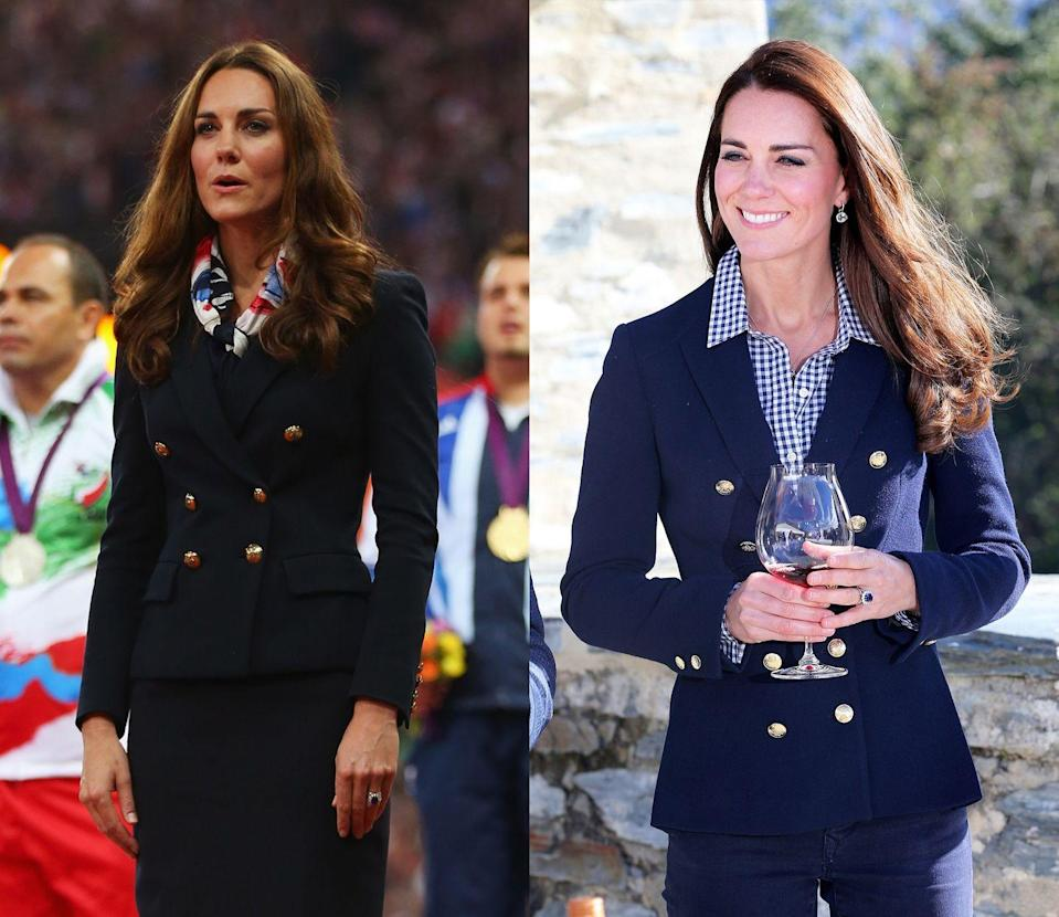 <p> Kate debuted this classic navy Zara blazer at the 2012 Paralympics, bringing it back in April 2014 for an official trip to New Zealand. </p>