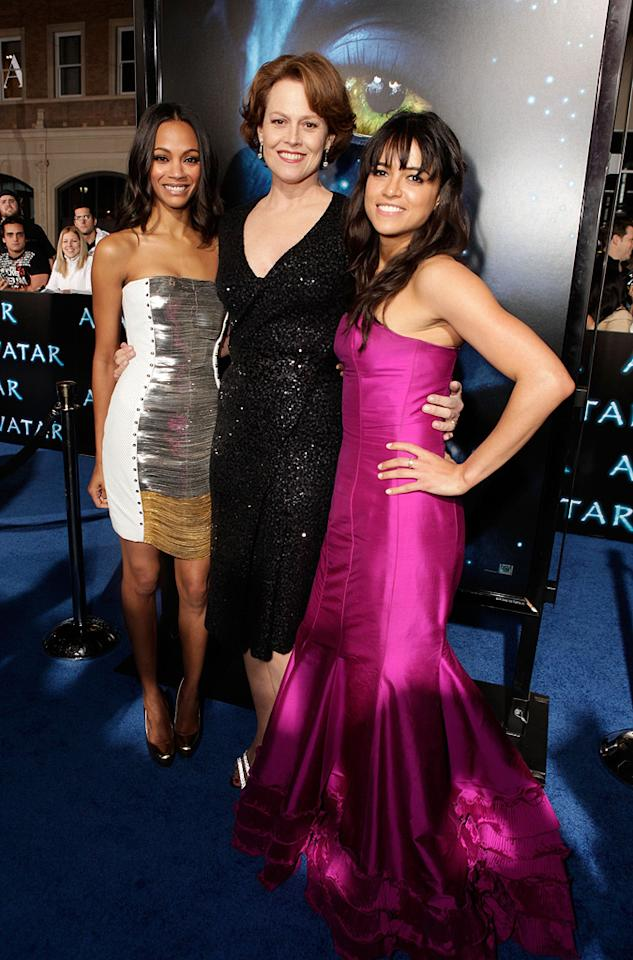 "<a href=""http://movies.yahoo.com/movie/contributor/1800362233"">Zoe Saldana</a>, <a href=""http://movies.yahoo.com/movie/contributor/1800015109"">Sigourney Weaver</a> and <a href=""http://movies.yahoo.com/movie/contributor/1800354386"">Michelle Rodriguez</a> at the Los Angeles premiere of <a href=""http://movies.yahoo.com/movie/1809804784/info"">Avatar</a> - 12/16/2009"